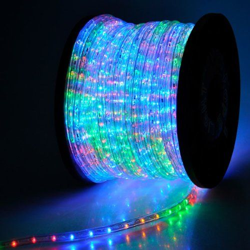 150 Ft 2 Wire Flexible Rgb Multi Color Illuminated 1620 Led Bulbs Rope Light 110v W Power Co In 2020 Led Rope Lights Christmas Rope Lights Led Rope