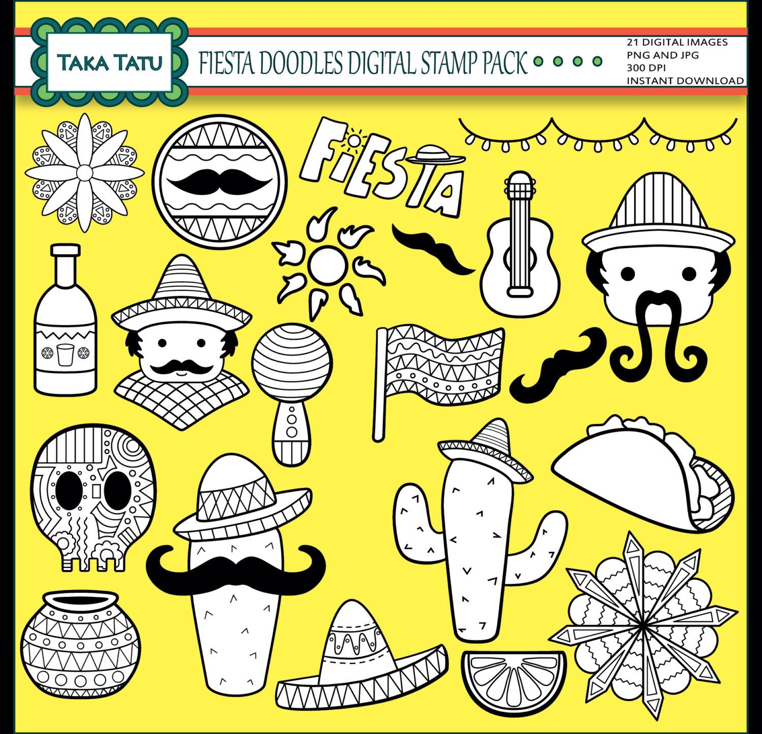 Fiesta Doodles Digital Stamp Pack Black And White Clipart Mexican Mexico Line Art Scrapbook Stamp Mustac In 2021 Digital Stamps Scrapbooking Stamps Doodles