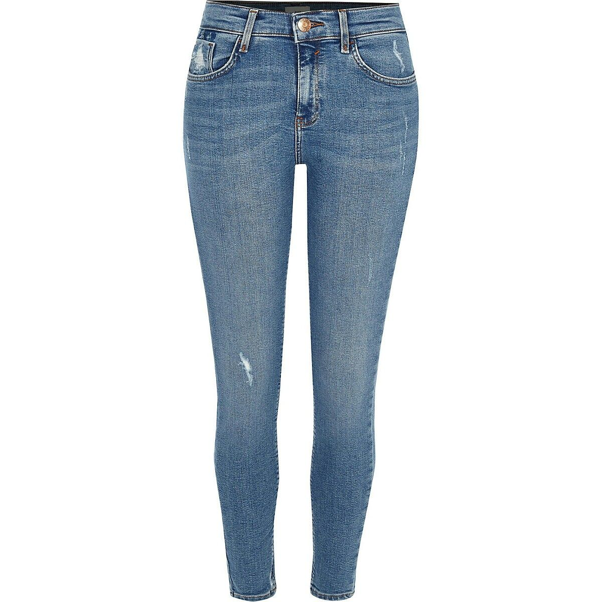 3e7747181a58e7 Mid blue Amelie skinny jeans | Polyvore fashion in 2019 | Jeans ...
