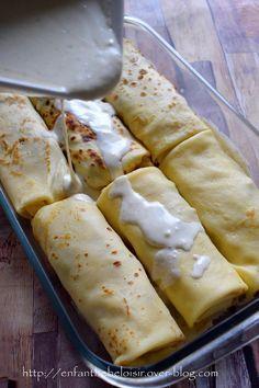 Crêpes au poulet et champignons – gratinées au Morbier, ou pas ! – …recette du monde…