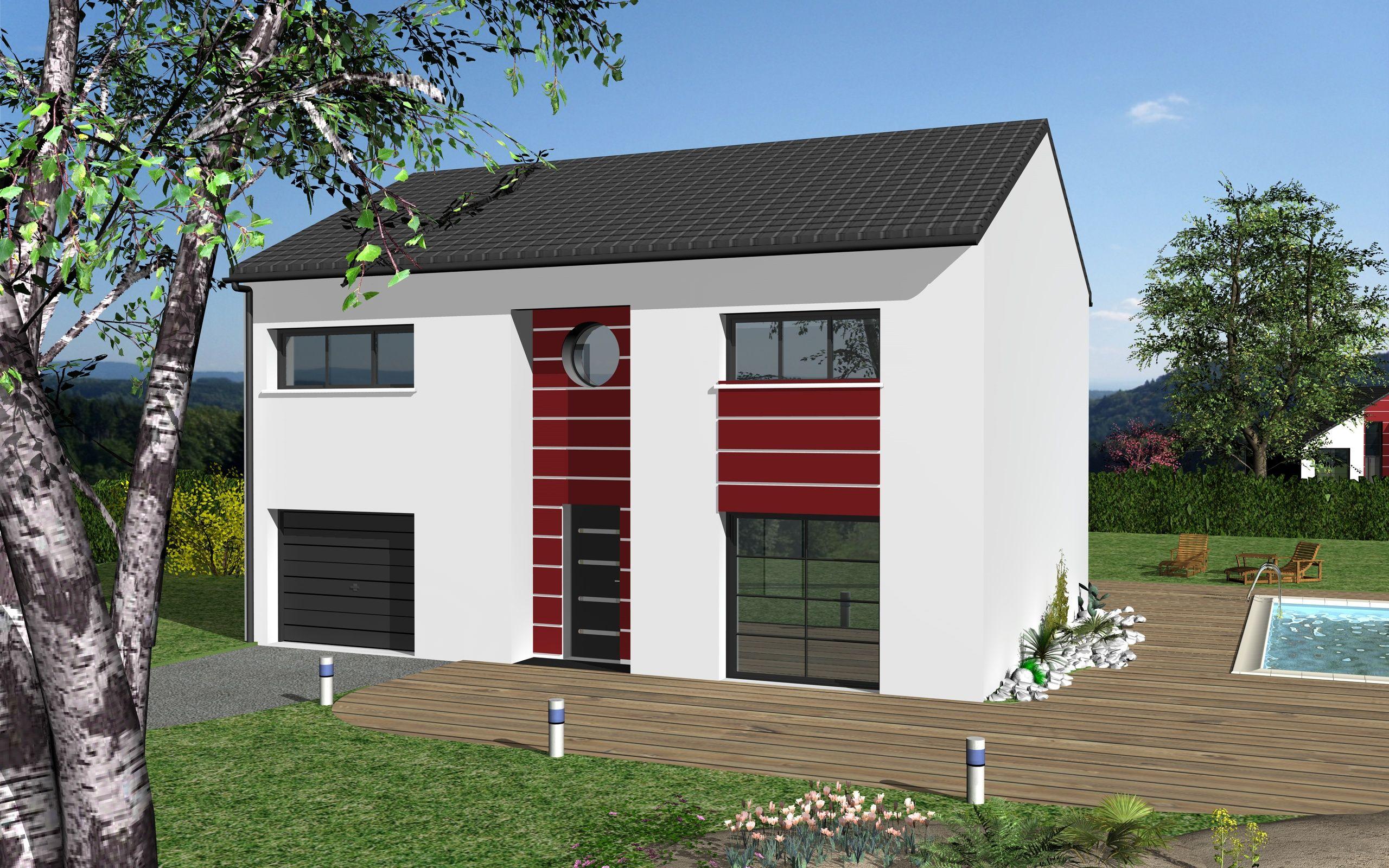 Noémie Design est un modèle de maison de style moderne. Elle possède 5 pièces pour une surface de 126 m². Gamme design - Maisons HCC