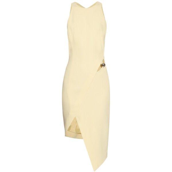 Mugler Cut-out asymmetric-hem crepe dress (€1.165) ❤ liked on Polyvore featuring dresses, mugler, light yellow, crepe dress, pastel dresses, cut out dress, light yellow dress and beige dress