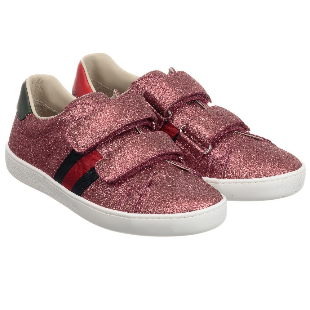 c35a38b18b11 Girls luxurious pink  Ace  glitter trainers from Gucci