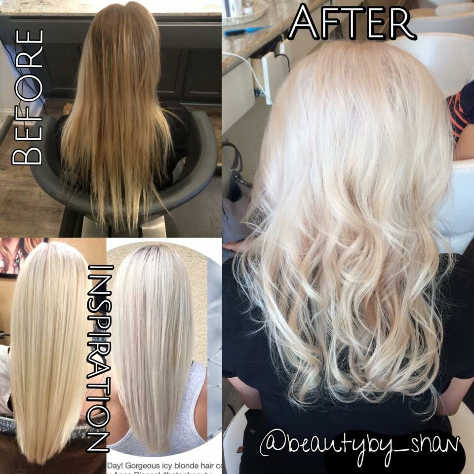 Before And After Inspiration Blonde Platinum Blonde Platinum Card Balayage Beautyby Shan Icy Blonde Hair Heavy Blonde Highlights Long Hair Styles