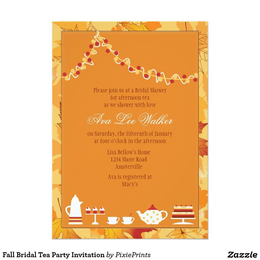 Fall Bridal Tea Party Invitation | Tea party invitations, Party ...