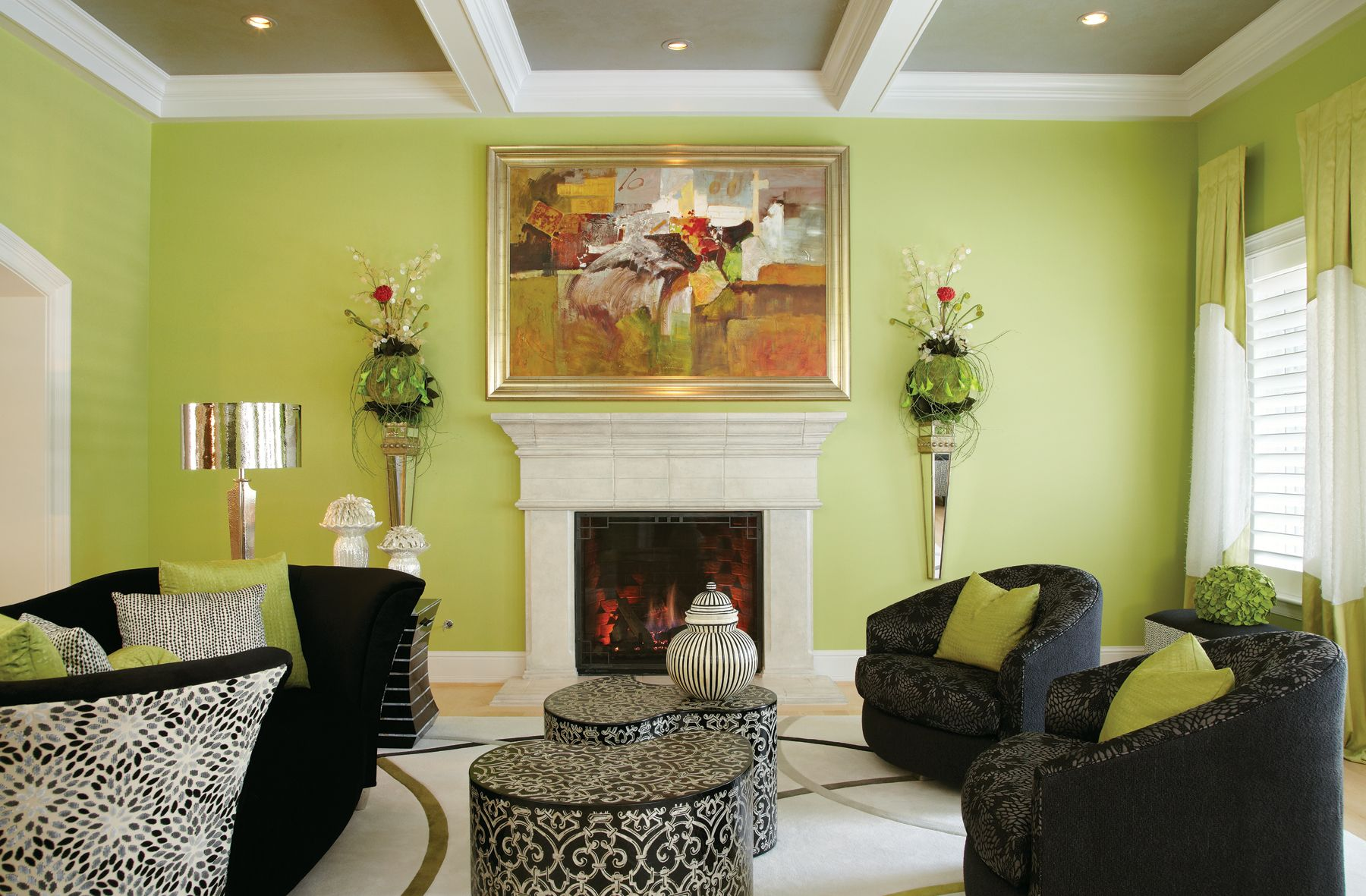 For Having A More Cheerful Feel In Living Room Light Green Or Lime Green Can Be The Best Cho Green Walls Living Room Green Living Room Decor Living Room Green