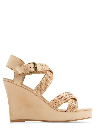 MANGO - SHOES - Leather wedge sandals