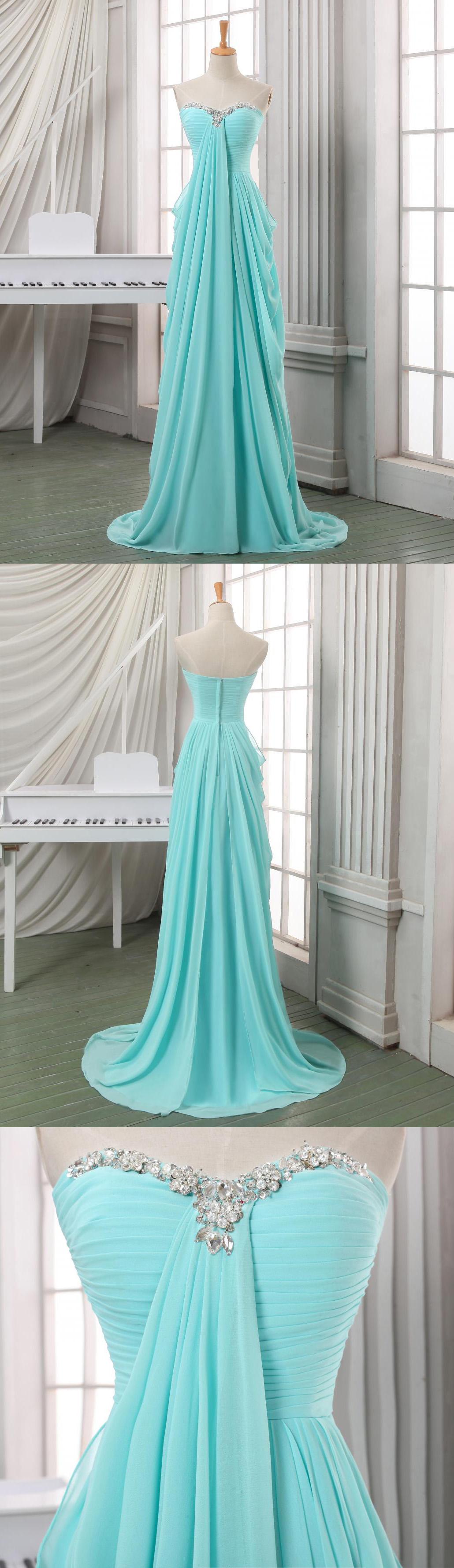 A line empire waist mint high low prom dressesbeaded sweetheart