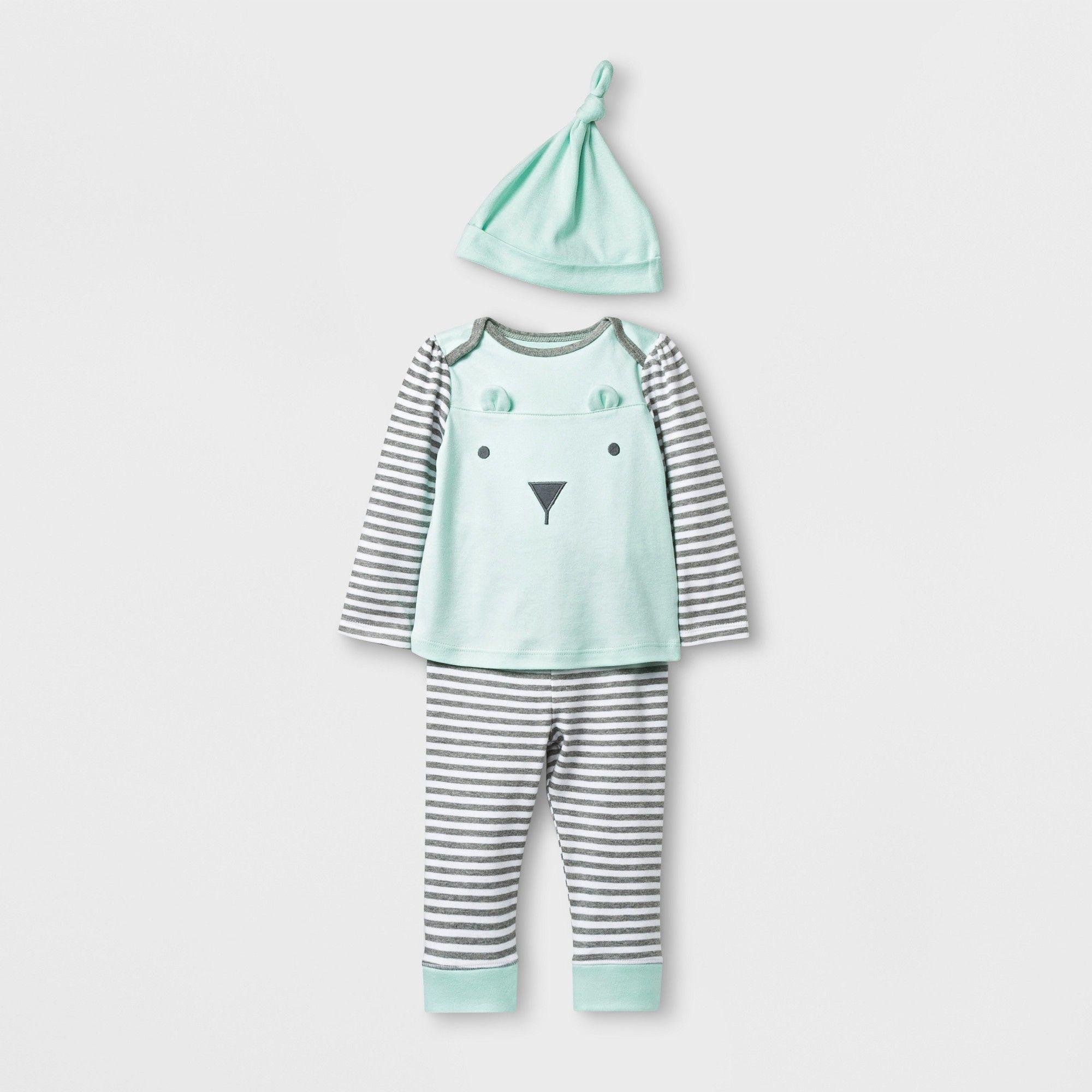 Baby 3pk Pants Cloud Island Mint//Gray//Striped 12M NEW