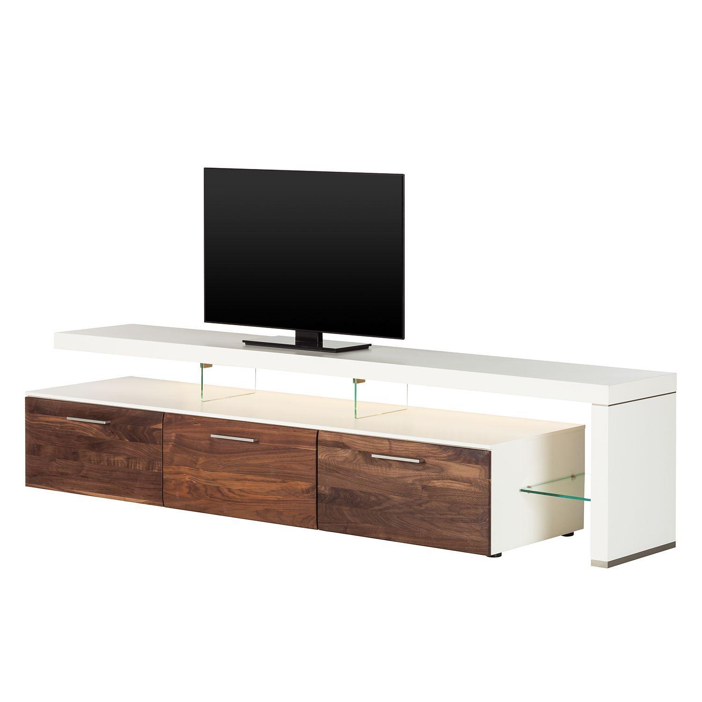 EEK A+, TV-Lowboard Solano II - Mit Beleuchtung - Nussbaum / Weiß ...