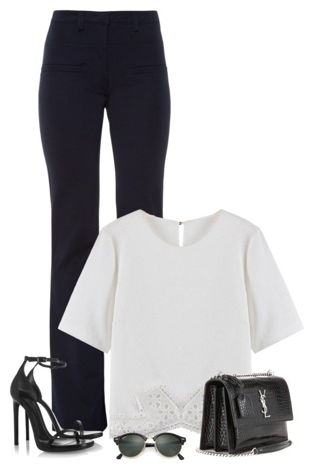 """""""22/10/16 I"""" by marianamenes19 ❤ liked on Polyvore featuring Altuzarra, Yves Saint Laurent, Ray-Ban, office, fancy, saintlaurent and social"""