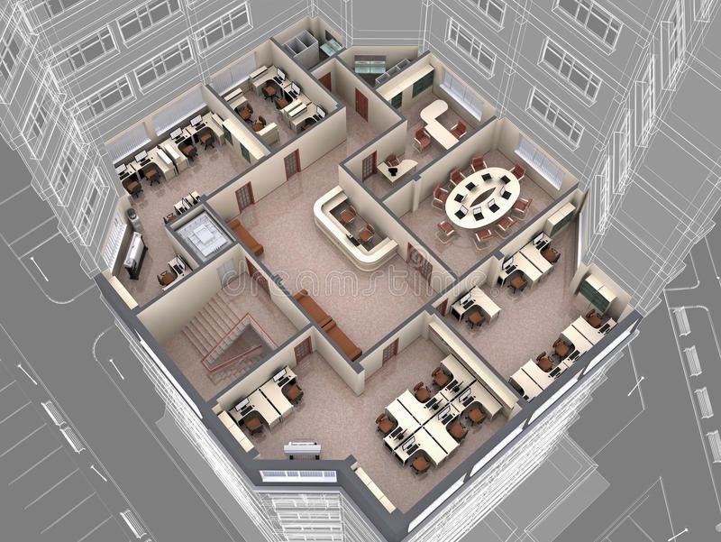 Office Interior Of Office Building Look Downwards 3d Image Spon Interior Office Office Image Office Layout Plan Office Floor Plan Office Building