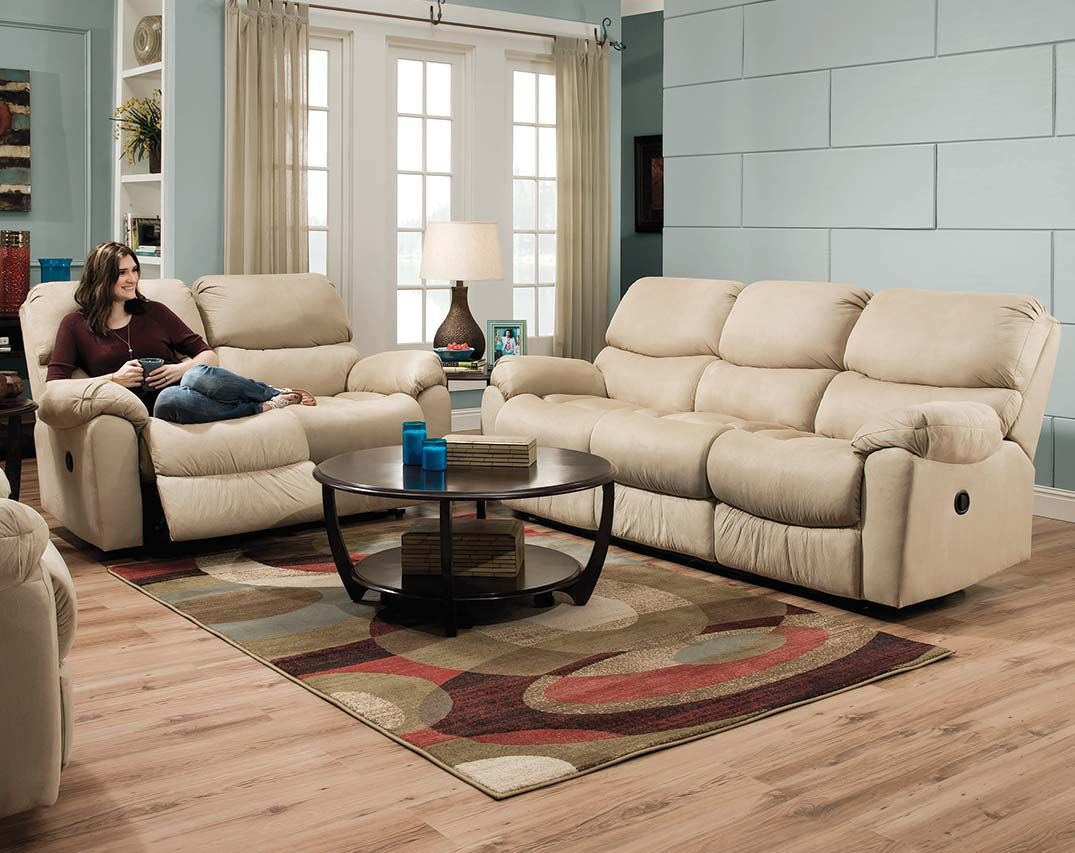 The Searider Hazelnut Reclining Sofa And Loveseat Set Is A Neutral Cream Colored Luxurious