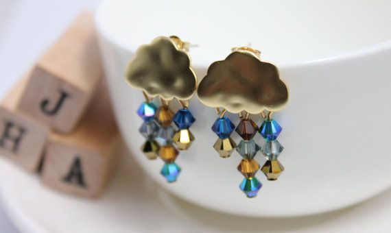 Swarovski crystals Small clouds of rain earrings   by JigulinsHA