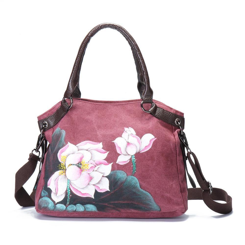 Brenice Hand Painted Lotus Handbags Vintage Chinese Bags