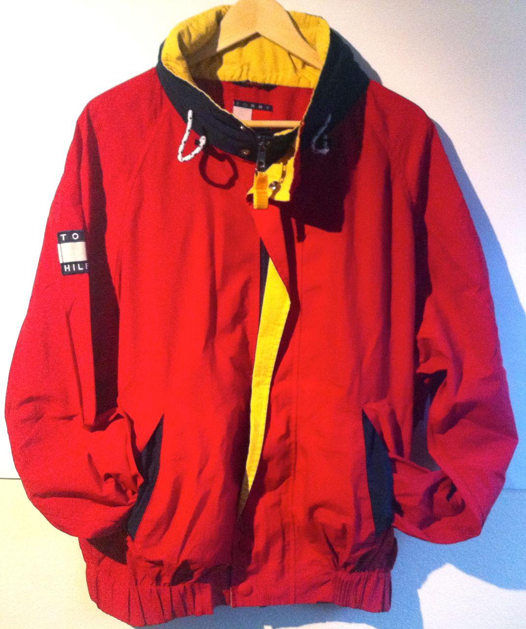 vintage tommy hilfiger red windbreaker jacket big logo. Black Bedroom Furniture Sets. Home Design Ideas