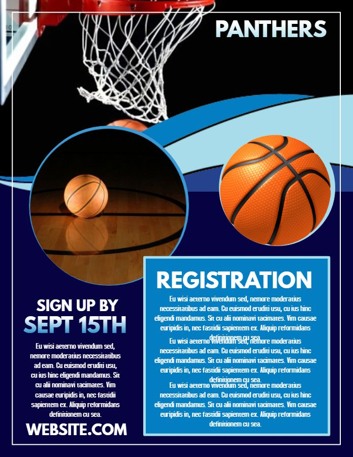 Basketball TryOuts Registration Poster Template  Sports Poster