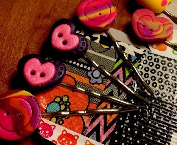 Cute, Kitsch, Rockabilly Handmade Bobby Pin Lot Hearts, Cats, Pink Purple, Girls  | eBay