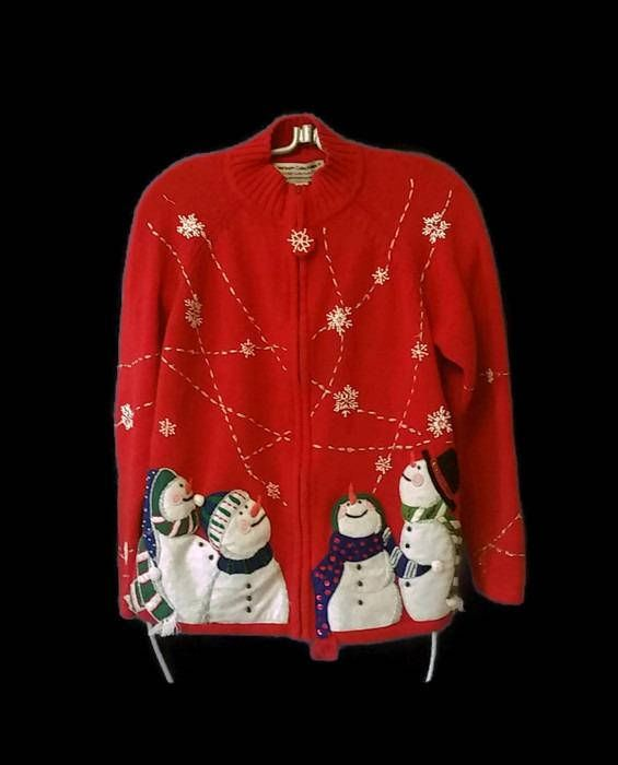 ugly christmas cardigan sweater ugly snowman christmas