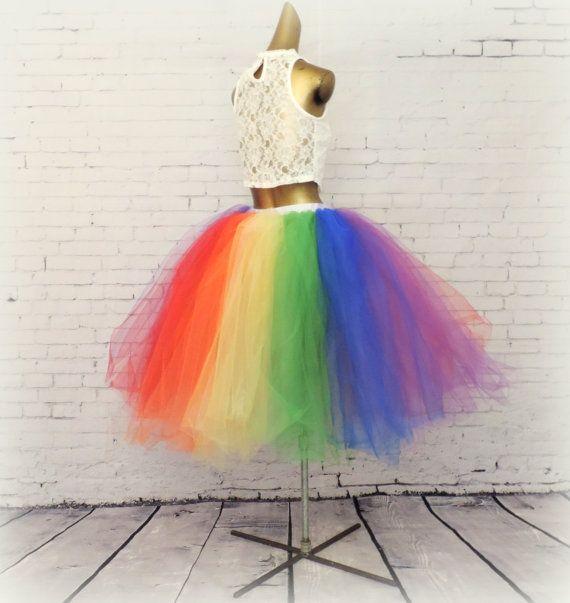 16d09ae963 Rainbow tea length tutu adult tutu gay pride tutu equality tutu long ...