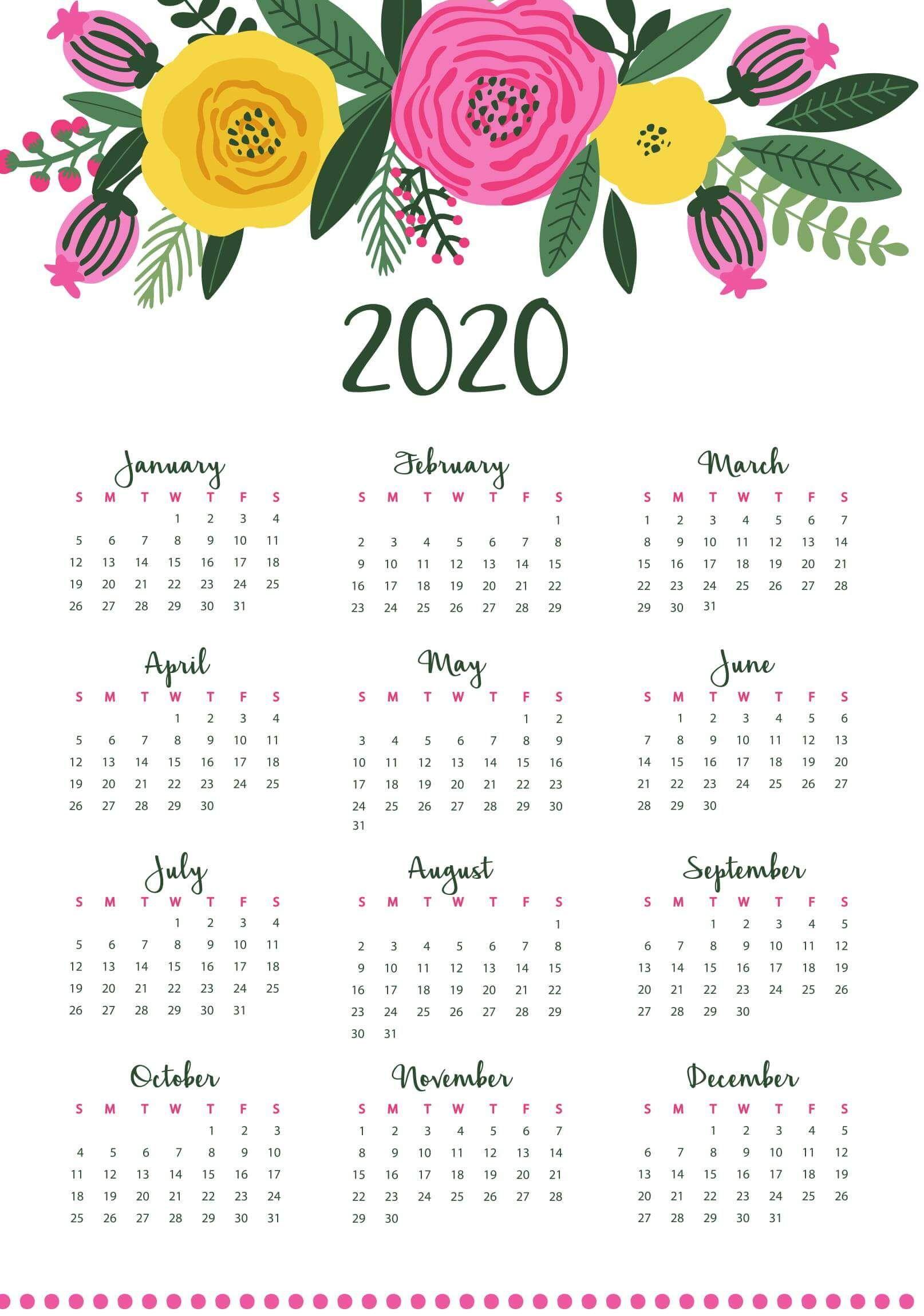 Fiscal 2020 Calendar Template Small calendar, Yearly