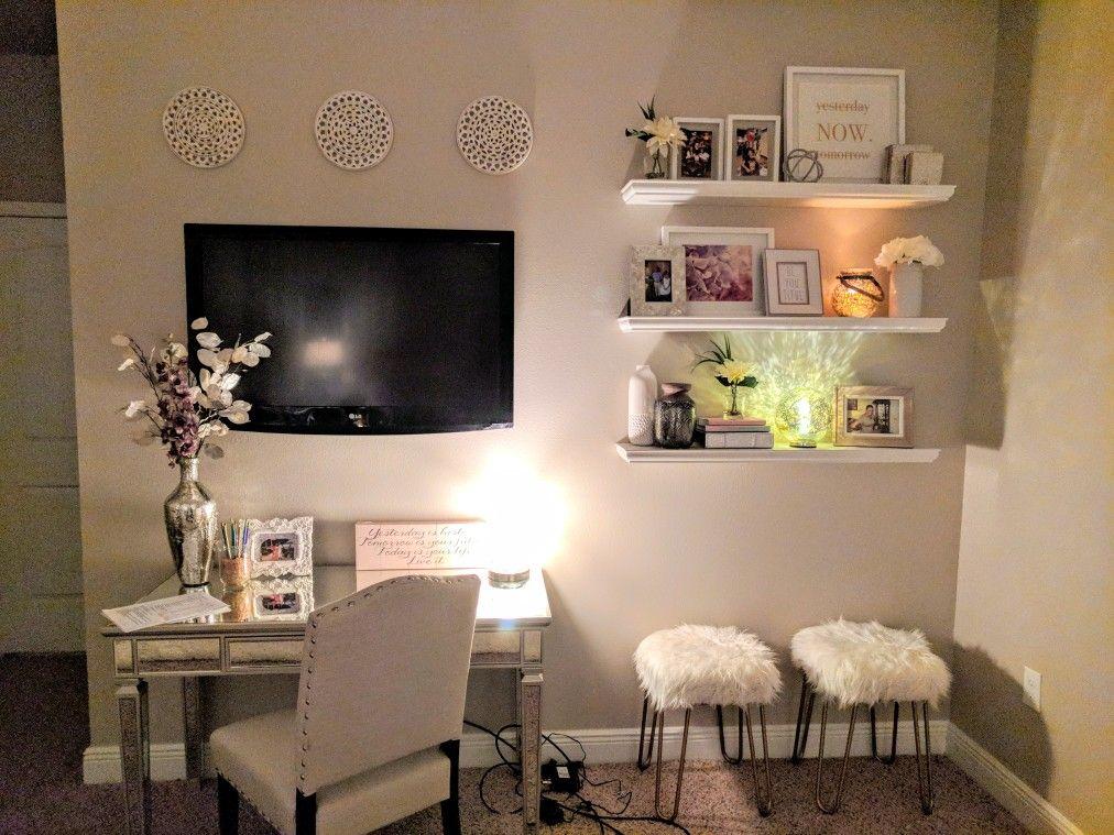 Floating shelf decor and desk also glam romantic master bedroom rh pinterest