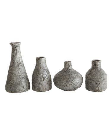 This Gray Terra Cotta Four Piece Distressed Vase Set Is Perfect