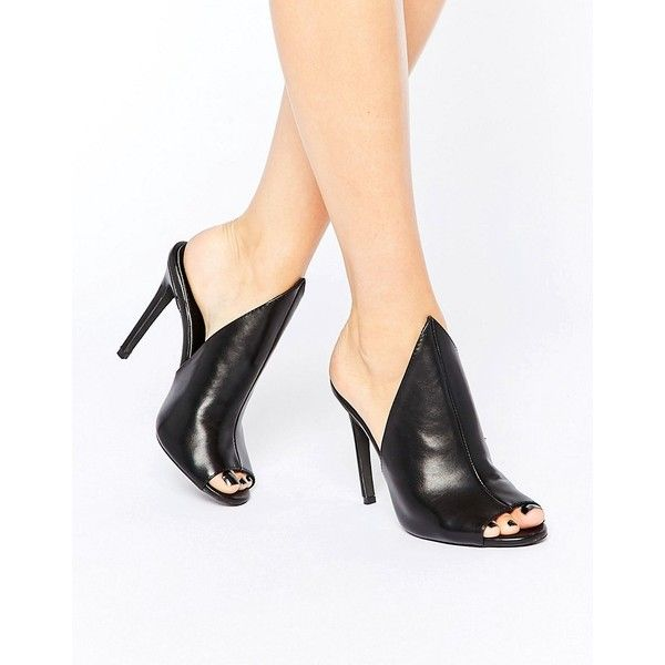 Public Desire Corina Black Heeled Mules (2.990 RUB) ❤ liked on Polyvore featuring shoes, black, peep-toe mules, high heel shoes, peep toe shoes, black peep toe shoes and kohl shoes