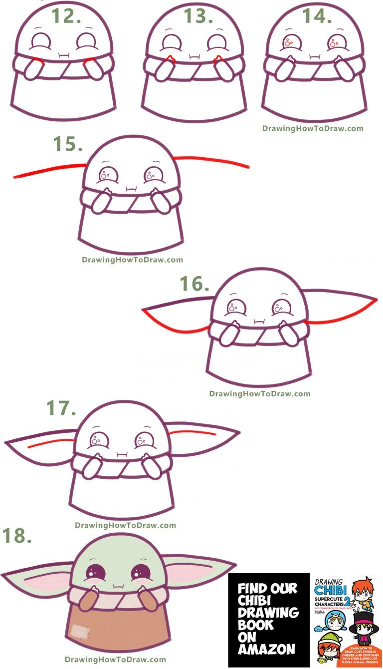 How To Draw A Cute Cartoon Baby Yoda Kawaii Chibi Easy Step By Step Drawing Tutorial How To Draw Step By Step Drawing Tutorials Easy Drawings Easy Doodle Art