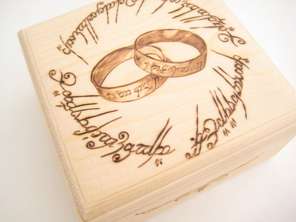 Wedding Ring Box Lord of the Rings, Ring Bearer Box, Wooden ring box, Gift for couple, PYROGRAPHY, Anniversary, Unique Wedding Gift - LOTR by RivdomArt on Etsy https://www.etsy.com/listing/237961848/wedding-ring-box-lord-of-the-rings-ring