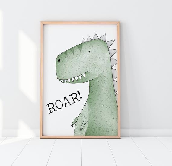 T-Rex Roar Print, Dinosaur Roar Wall Art, Dino Print, Boys Room Decor, Girls Room, Nursery Wall Art, Nursery Art, Kids Room Posters, Roar