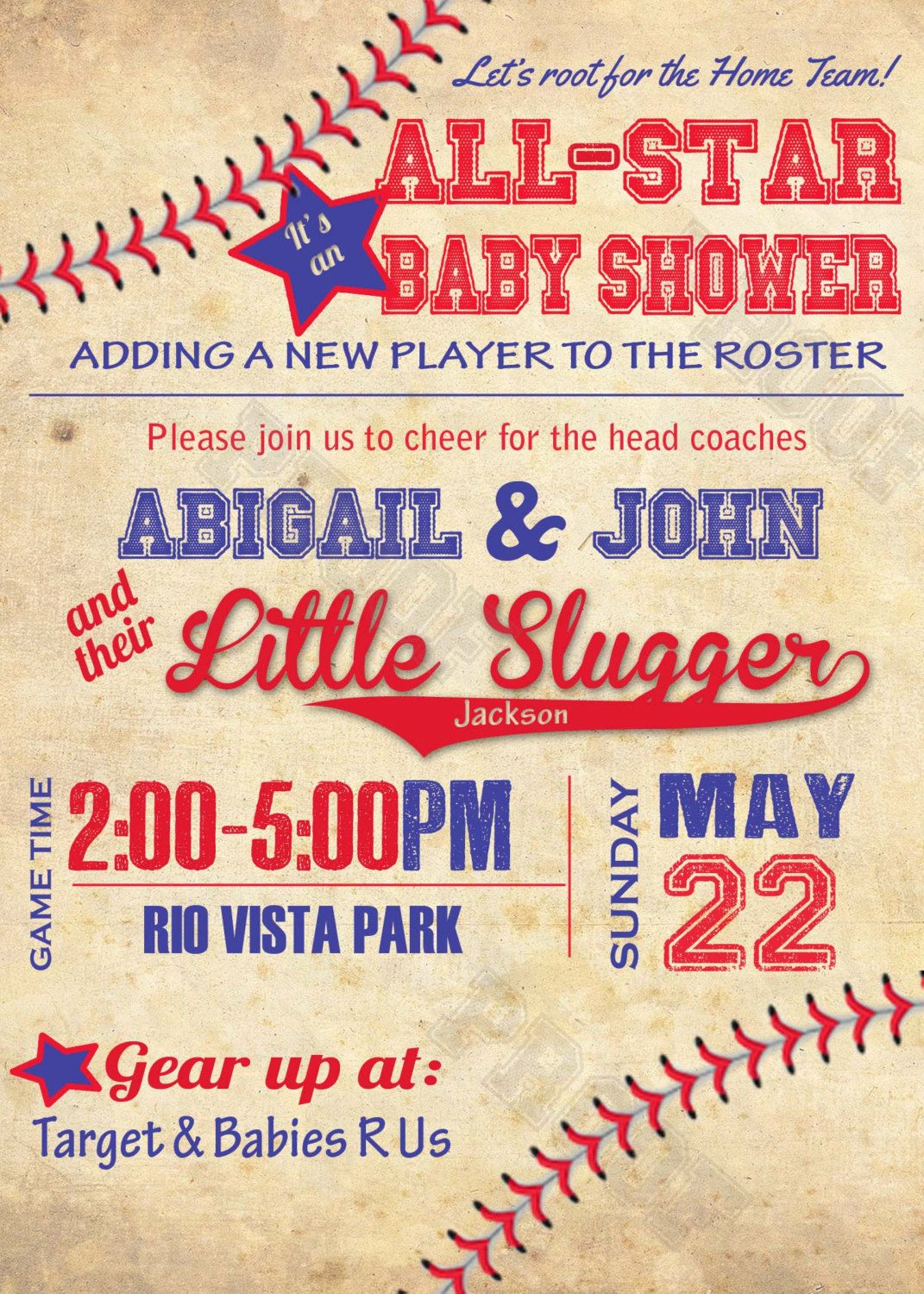 Vintage Baseball Personalized Baby Shower Invitation& Free Diaper ...