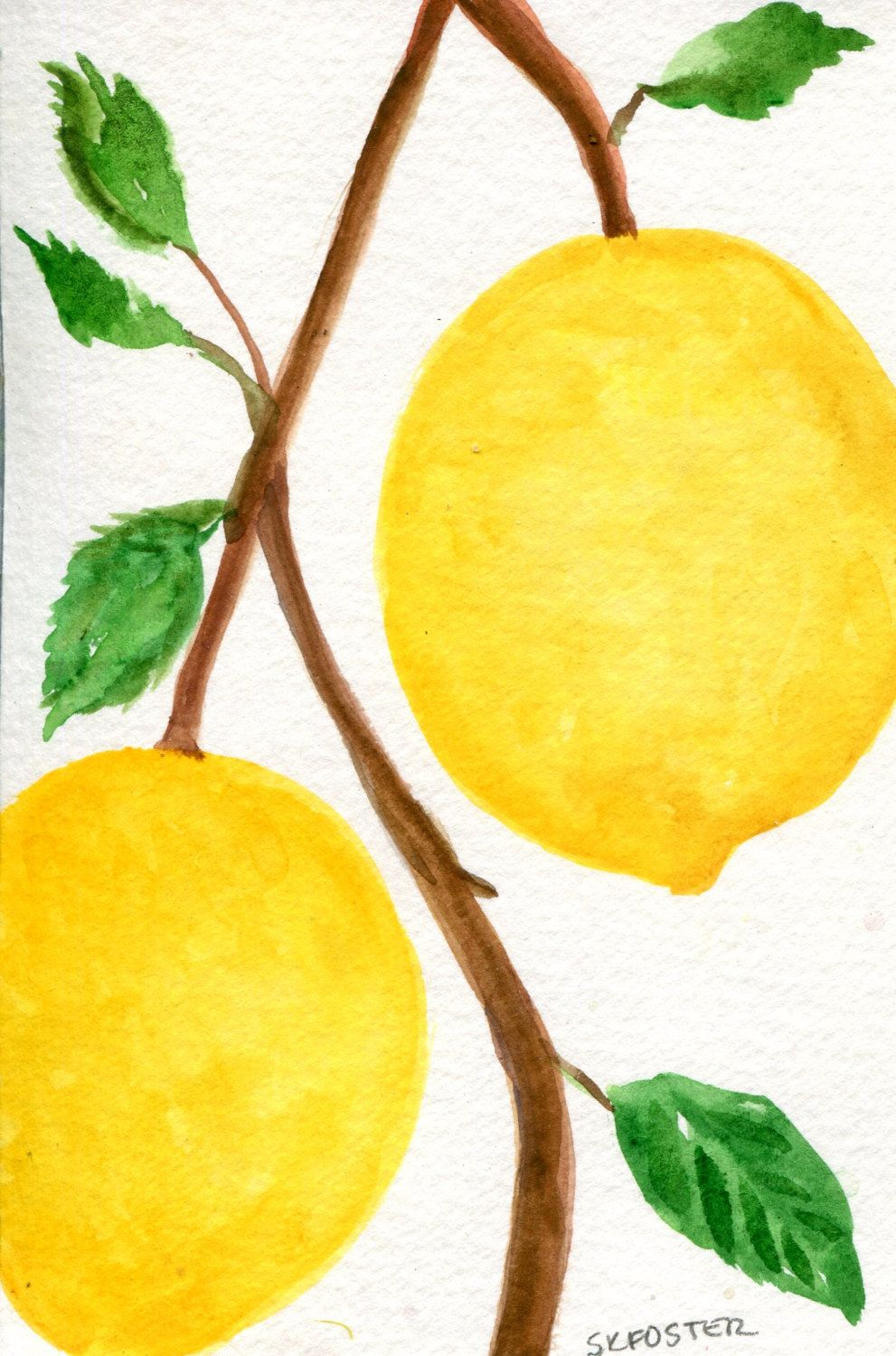 Lemons Watercolor Painting Original, Small Fruit Painting, Small ...
