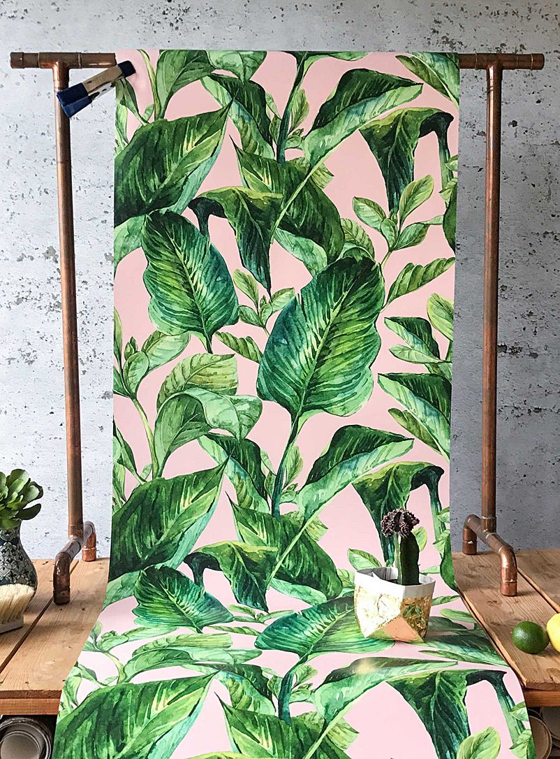 tropical pink foliage wallpaper | tropical mood board | pinterest