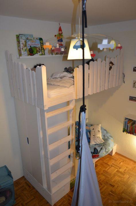 Hochbett selber bauen  Tutorial: Hochbett selber bauen | Textilsucht.de | Kinderzimmer ...