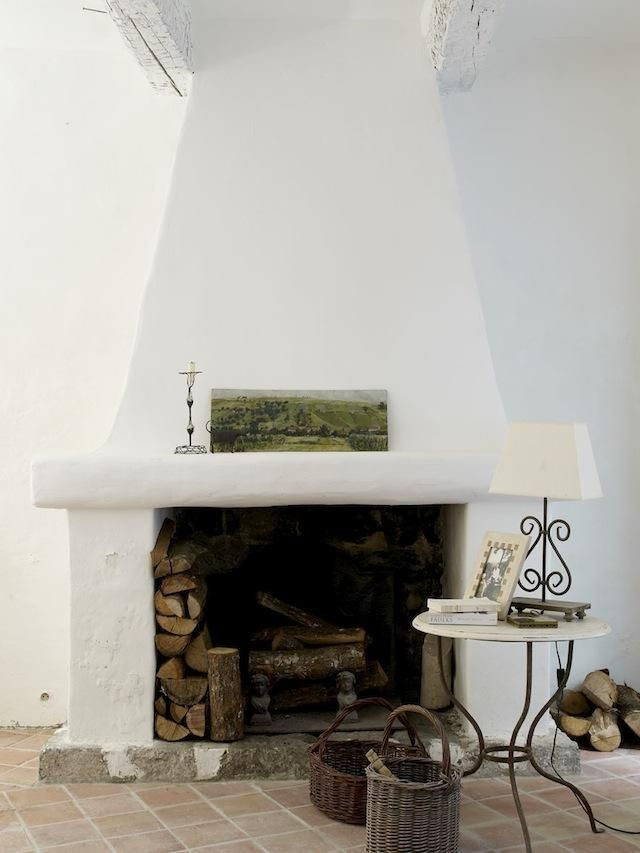 Image Result For White Stucco Fireplace