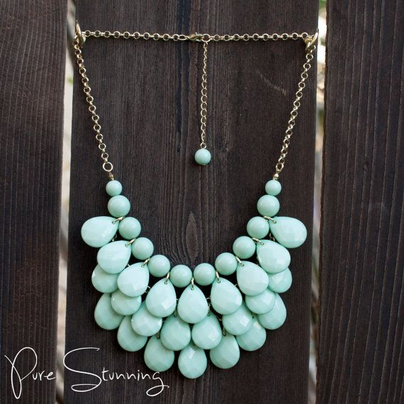 Teardrop Necklace in MINT, Kate Spade Necklace, J Crew Bubble Necklace, Anthropologie Necklace