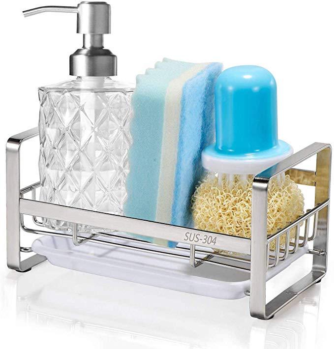 Sponge Holder Hulisen Kitchen Sink Organizer Sink Caddy Sink Tray Drainer Rack Brush Soap Holder With R In 2020 Sponge Holder Kitchen Sink Organization Soap Holder