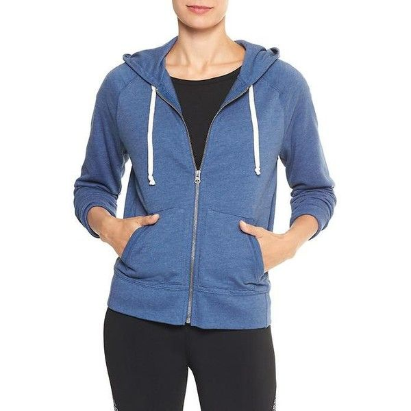 Gap Women French Terry Raglan Zip Hoodie ($40) ❤ liked on Polyvore  featuring tops