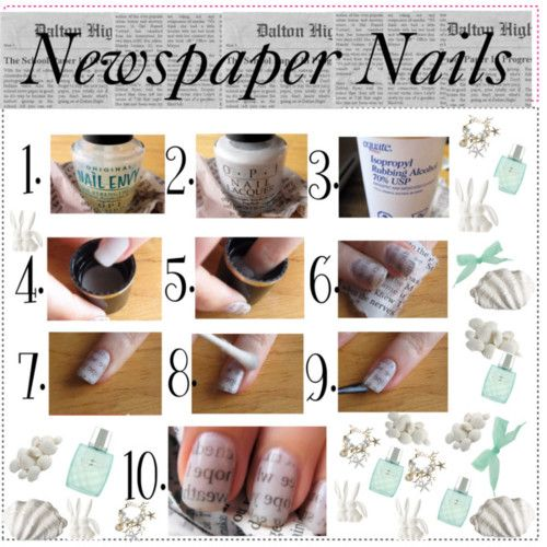 Step By Instructions For Newspaper Nails Thetipsangels On Polyvore