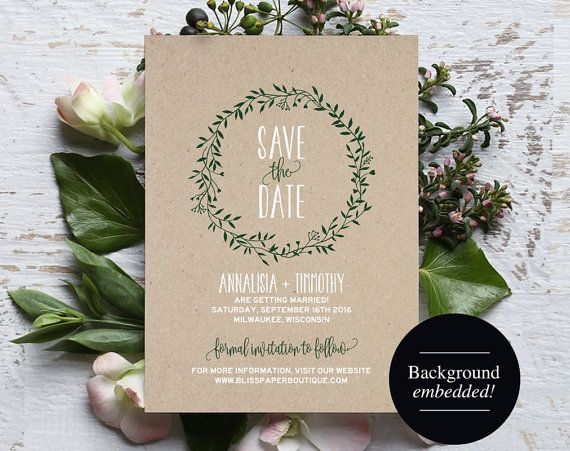 Save The Date Printable Forest Green Save The Date Rustic Save The - Rustic save the date templates