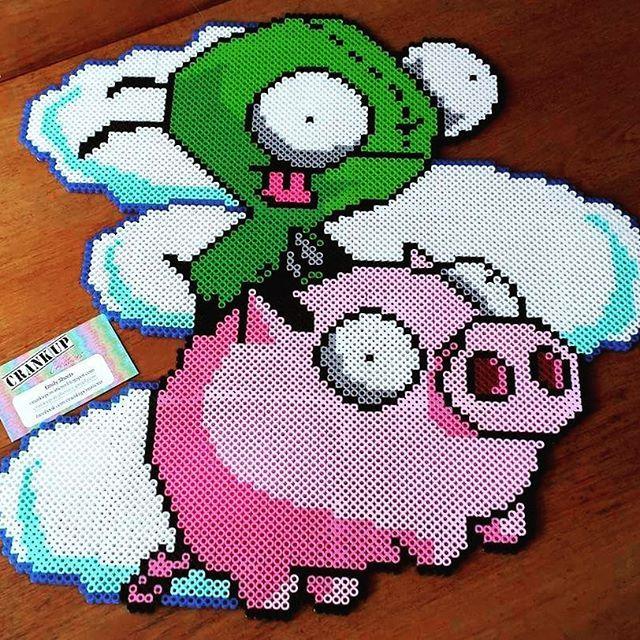 Gir and Piggy - Invader Zim perler beads by crankupcreations