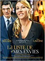 La liste de mes envies (France, 2014 / English translation of title: My Wish List) A basically happy woman with a good life, a husband she loves, two children and a successful notions shop wins 18 million euros in the lottery.  This film is a good mix of lightheartedness and drama, better than I expected, with the added bonus of scenic shots of the lovely French city of Arras, in the North of France. 2.8 stars.
