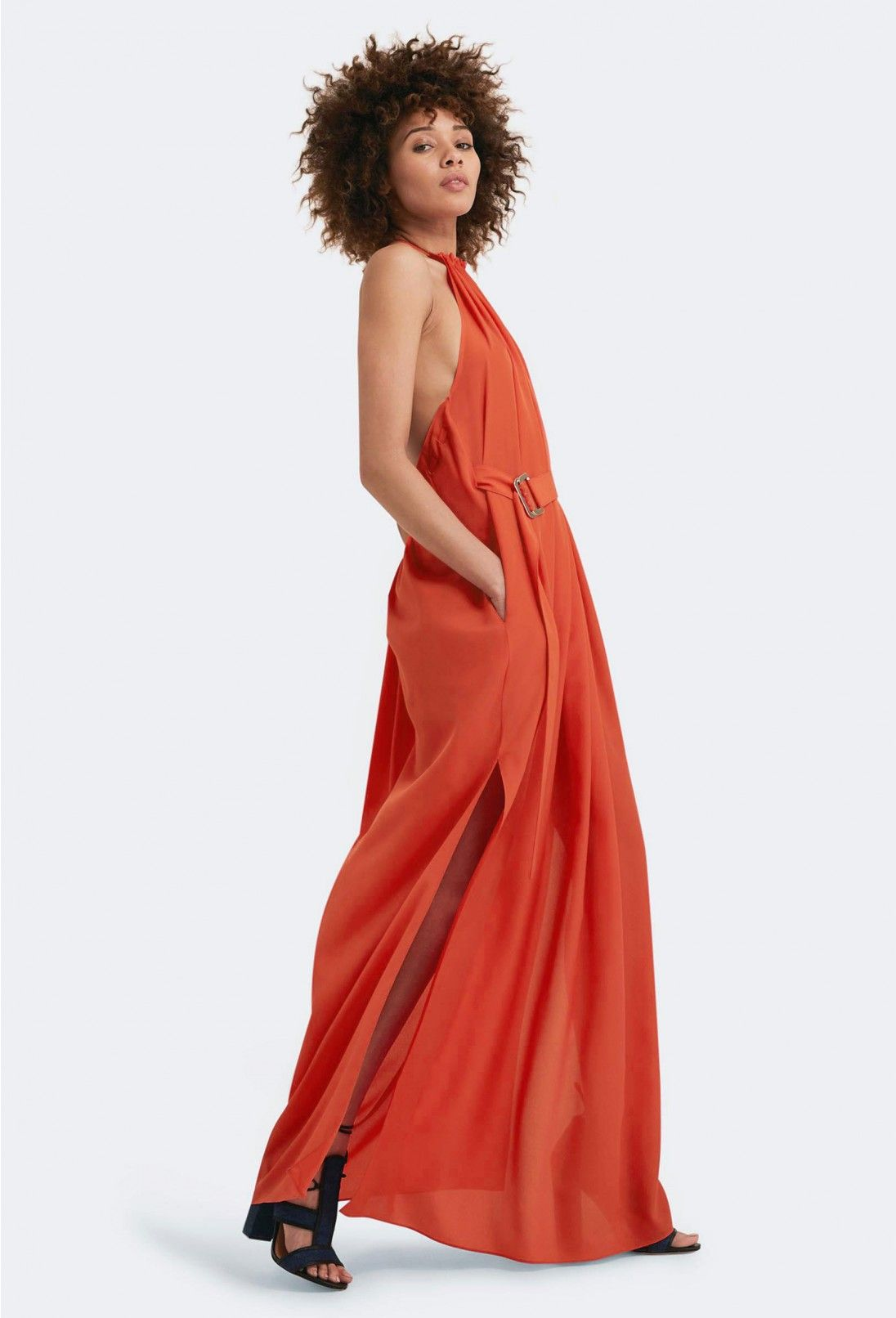1ec0ea4b3415 AQ AQ Spencer Halter Neck Maxi Dress · Orange