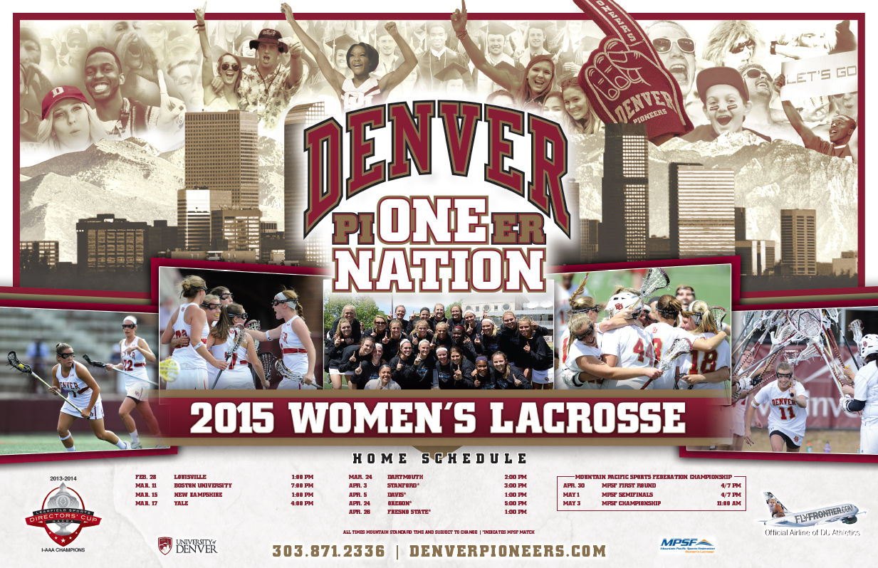 Denver Women S Lacrosse Poster 2015 Soccer Poster Volleyball Posters Hockey Posters
