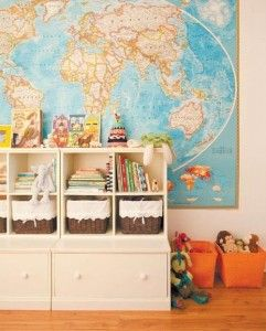 world map - map wallpaper - maps - framed maps - map art - interior design and home decor - crafts - DIY - childs room - childrens play room design via pinterest