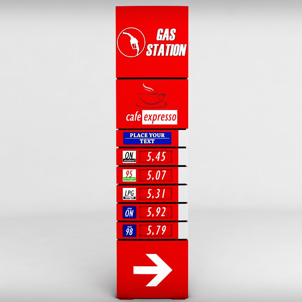 gas station price sign totem low poly pack photographer business