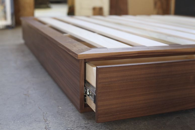 California king sized walnut bed with solid walnut platform solid poplar slats and two birch - Cal king bed with drawers ...