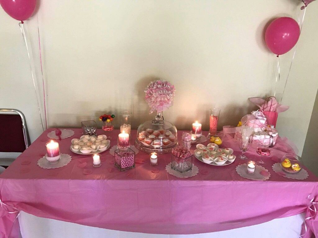 Pink and grey baby shower candy bar pink and white lollipop tree and