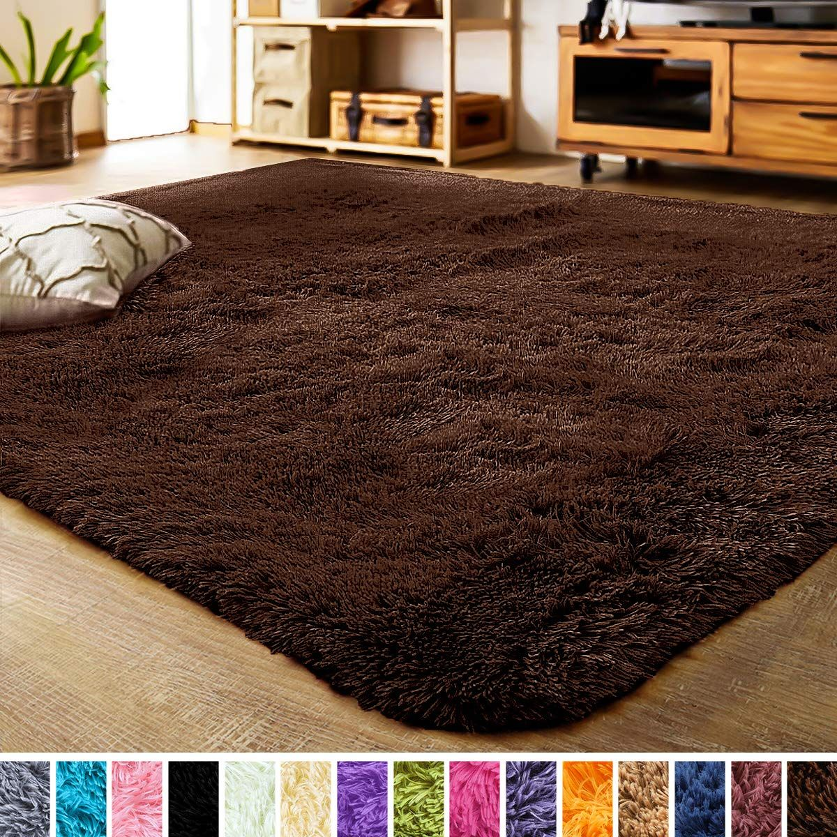 Lochas Luxury Velvet Shag Area Rug Modern Indoor Fluffy Rugs Extra Soft And Comfy Carpet Cute Color Furry Bedr In 2020 Fluffy Rug Living Room Carpet Modern Area Rugs